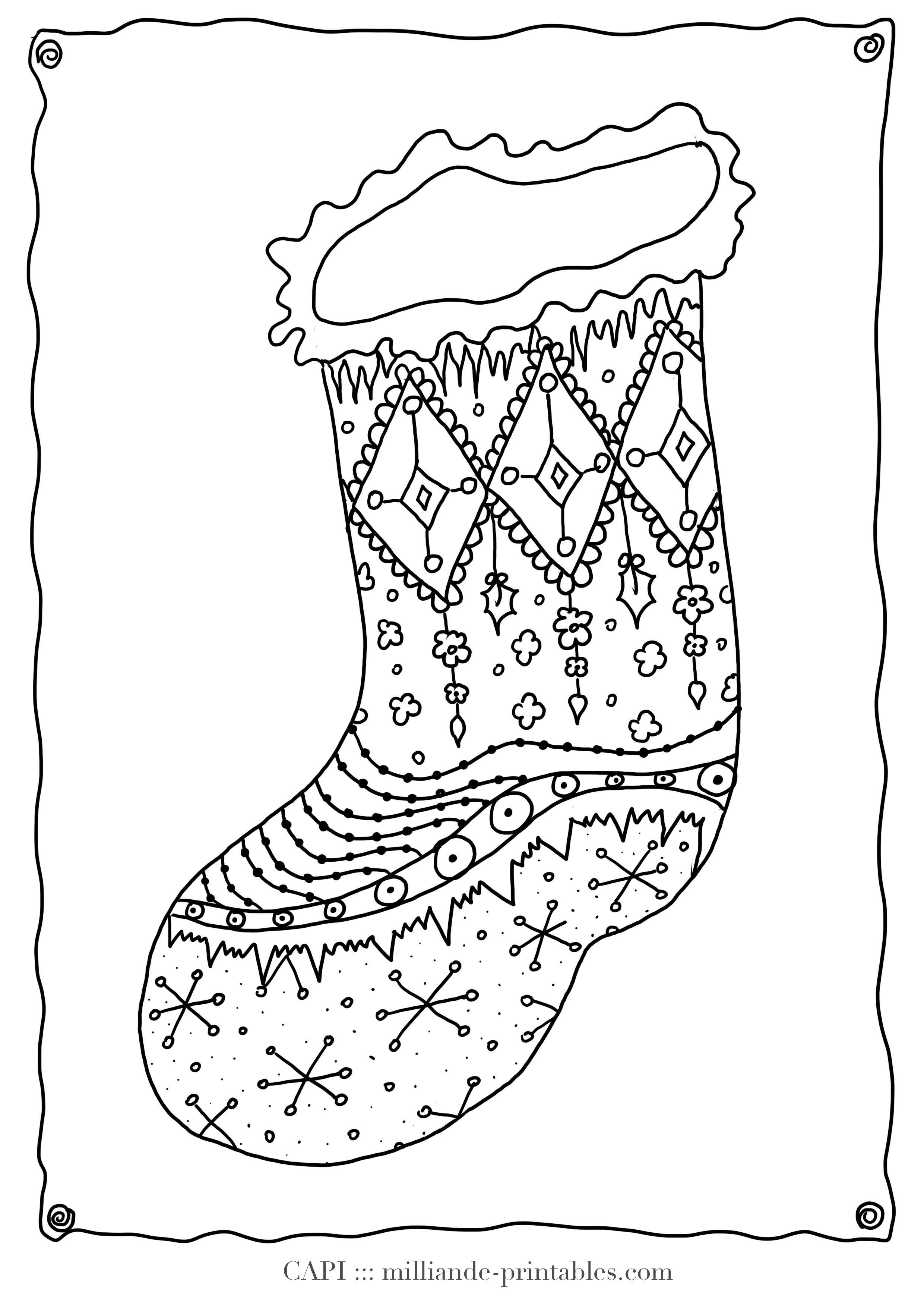 Christmas Coloring Stockings Template With Detailed Pages Bing Images Design Pinterest