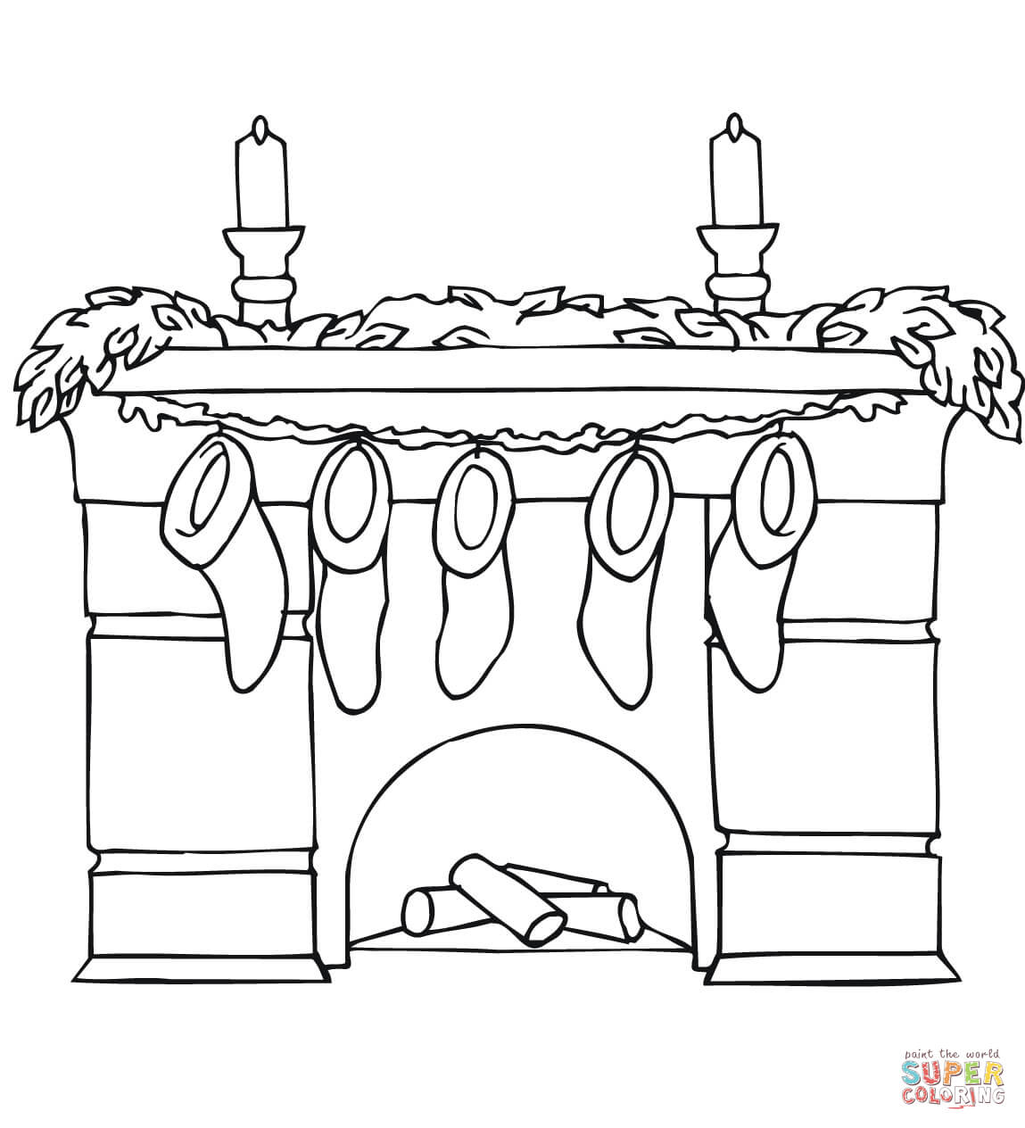 Christmas Coloring Stockings Template With Fireplace Mantel Holding Page