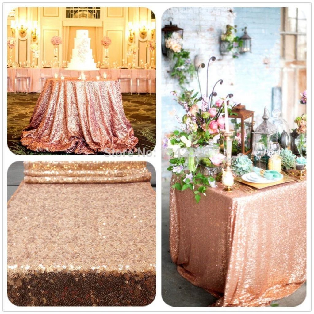 Christmas Coloring Tablecloth With 6ft Rectangle Rose Gold Sequin Hand Embroidery Designs