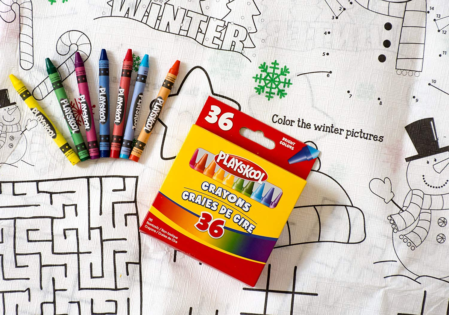 Christmas Coloring Tablecloth With Amazon Com Kids Color On And Crayons Bundle 1