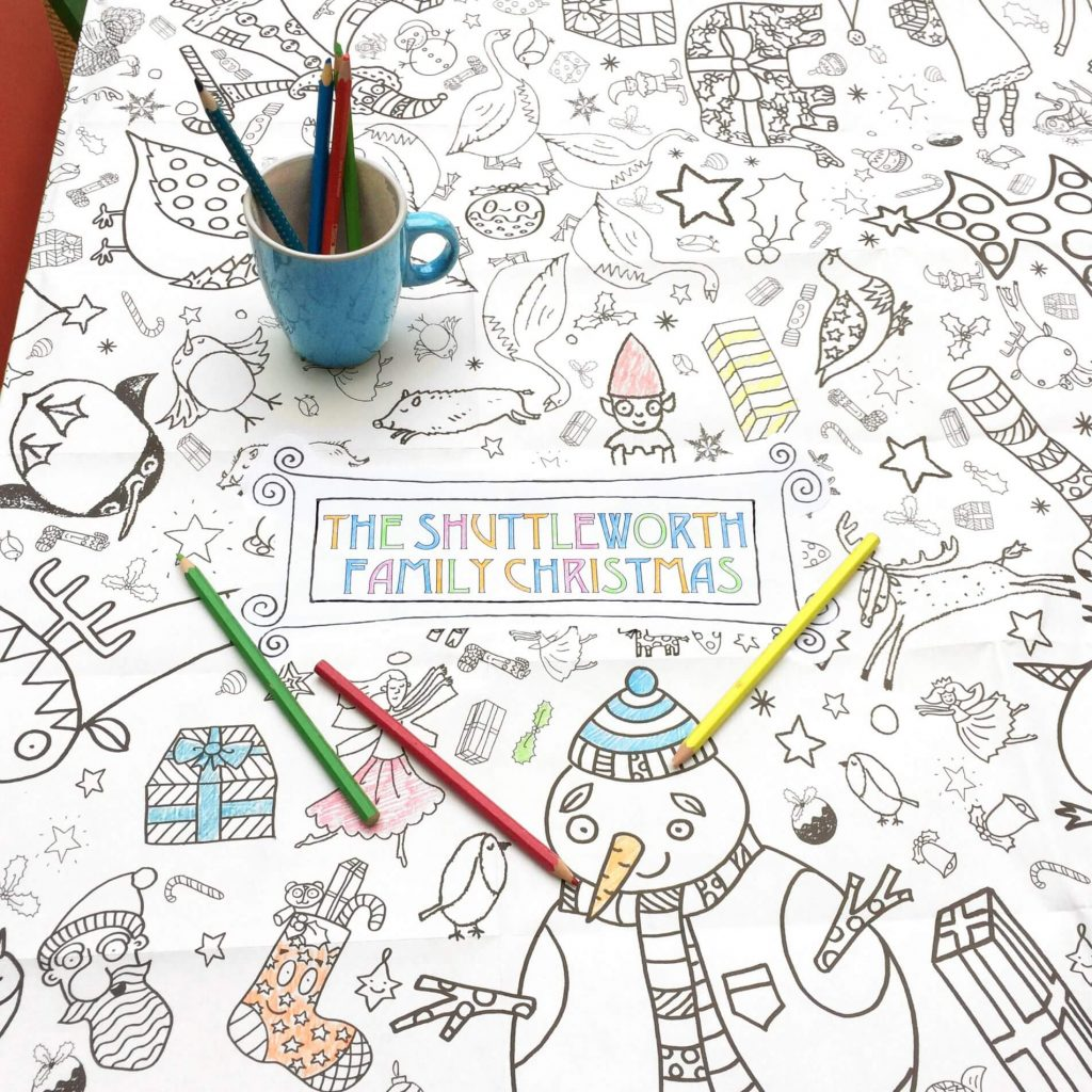 Christmas Coloring Tablecloth With Giant Poster Eggnogg Colouring In