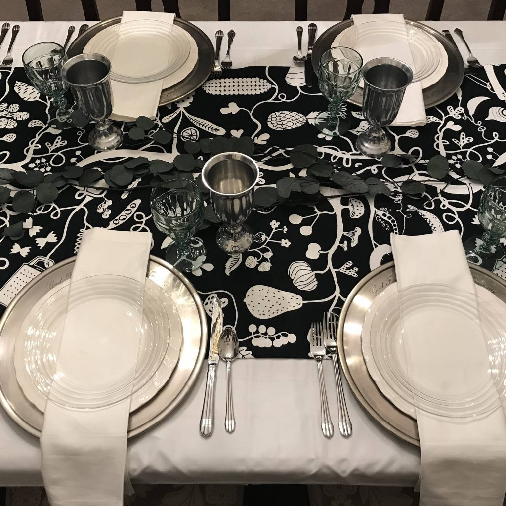 Christmas Coloring Tablecloth With Harvest Black White Table Runner Thanksgiving Linen