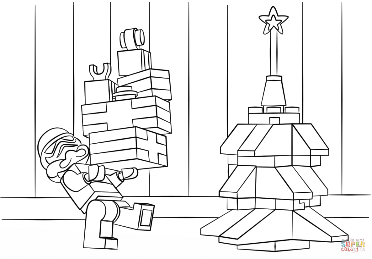Christmas Coloring Tags With Lego Pages Printable Page For Kids
