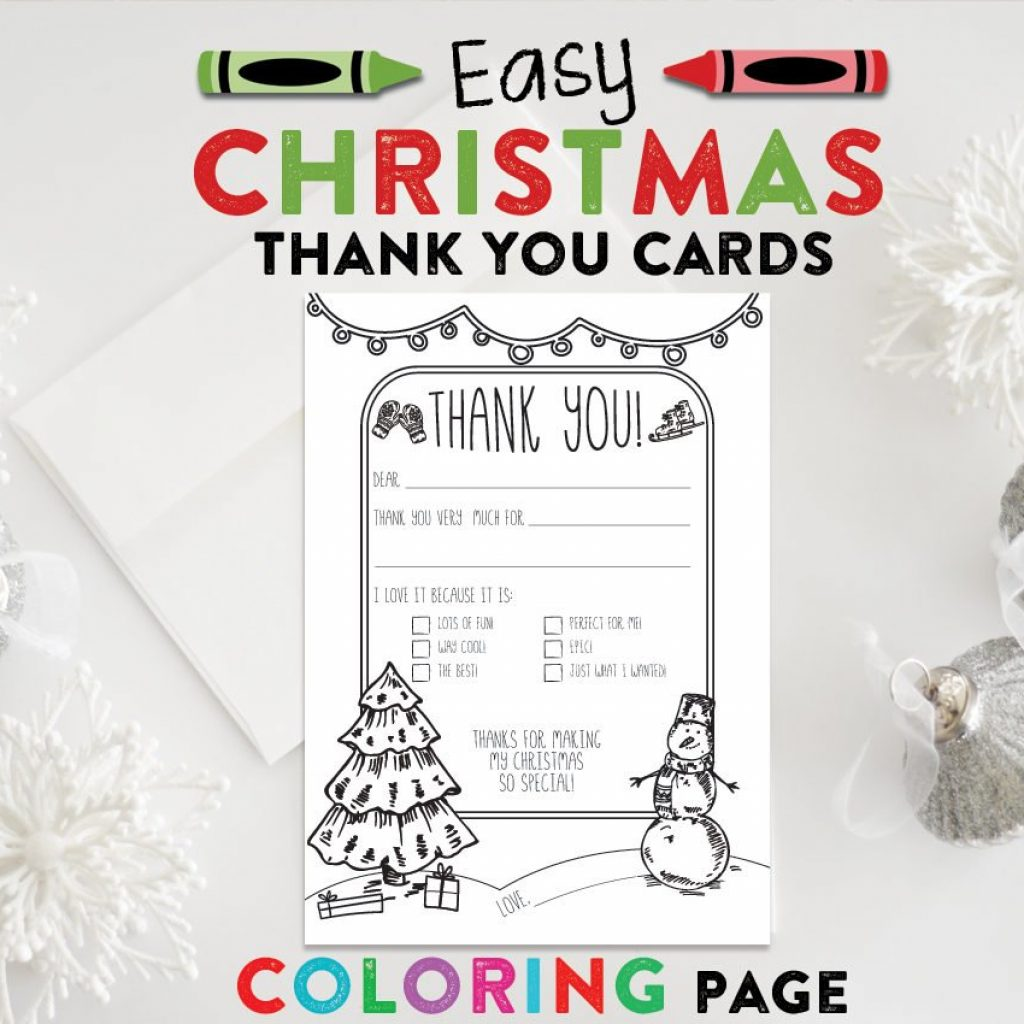 Christmas Coloring Thank You Cards With Kids Post Card Page PRINTABLE Etsy