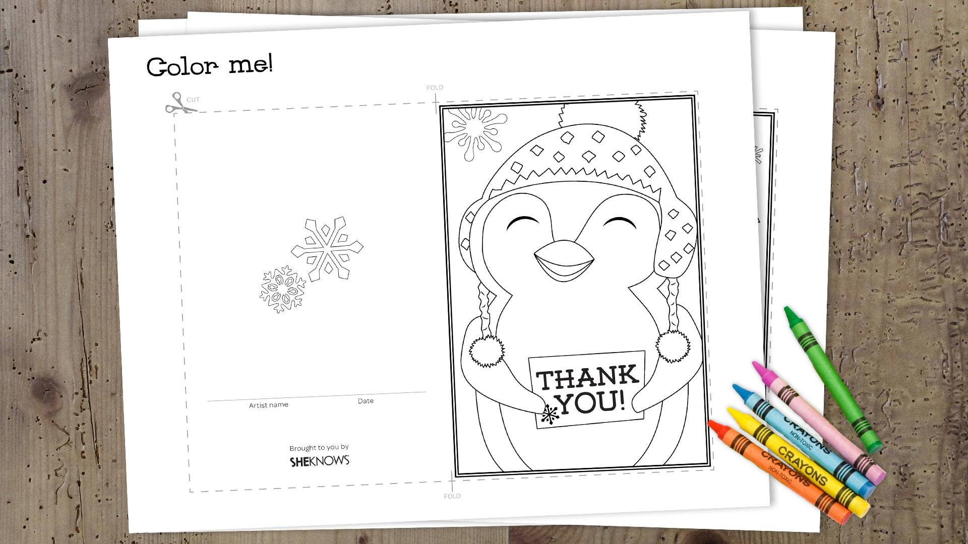 Christmas Coloring Thank You Cards With Printable For Kids ForPrint