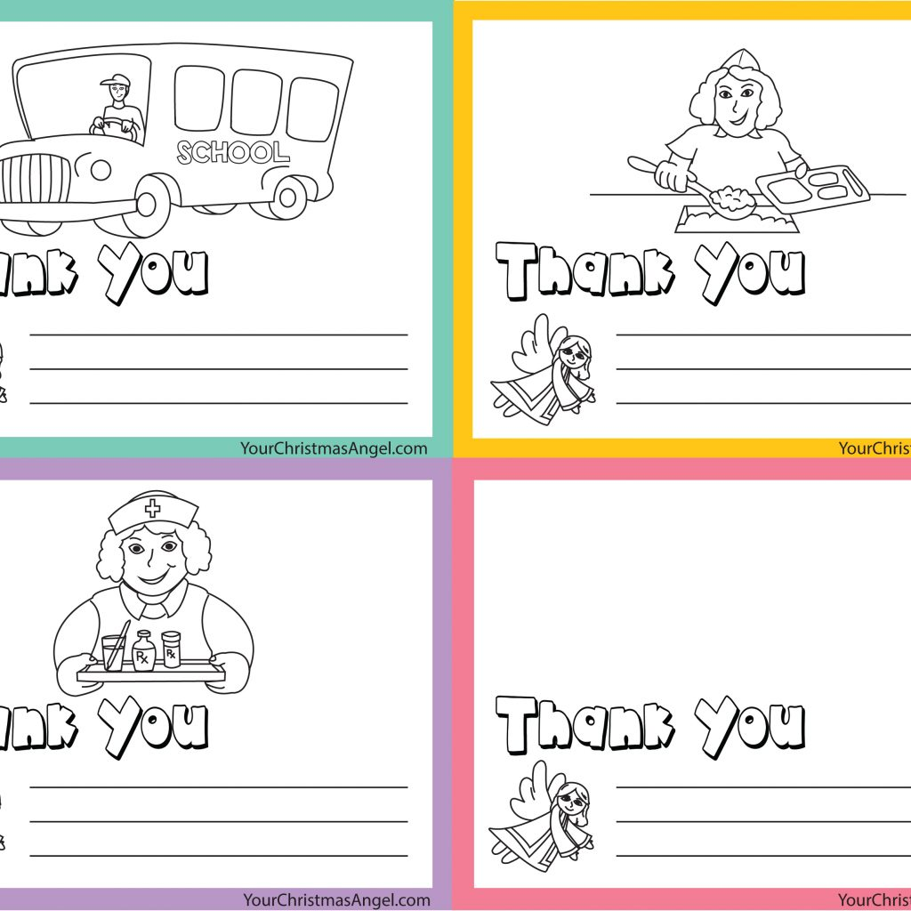 Christmas Coloring Thank You Cards With THE CHRISTMAS ANGEL