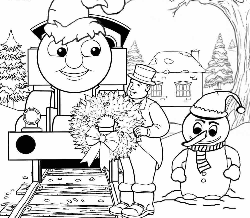 Christmas Coloring Train With Thomas In The Page Colouring