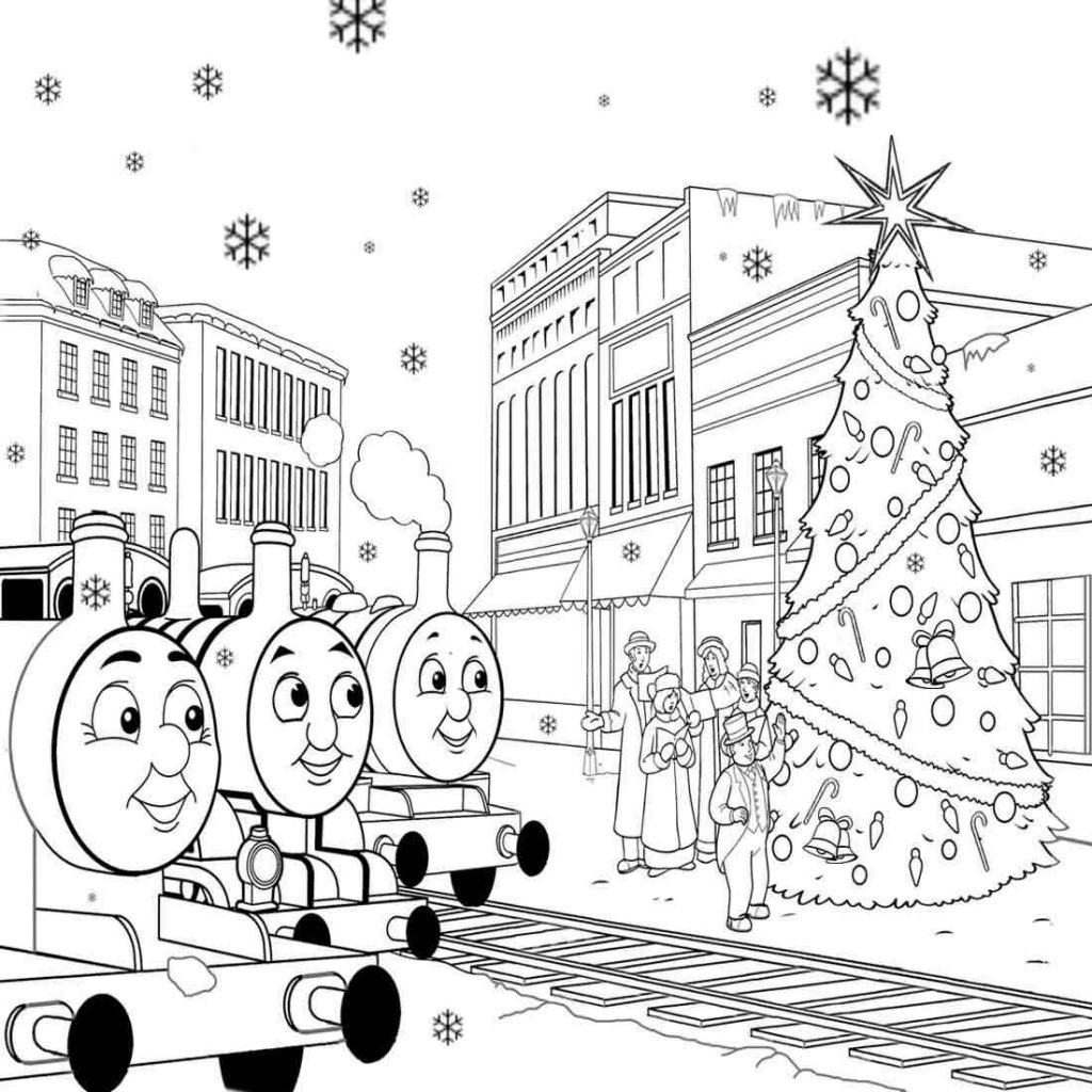 Christmas Coloring Train With Thomas The Pages For Kids
