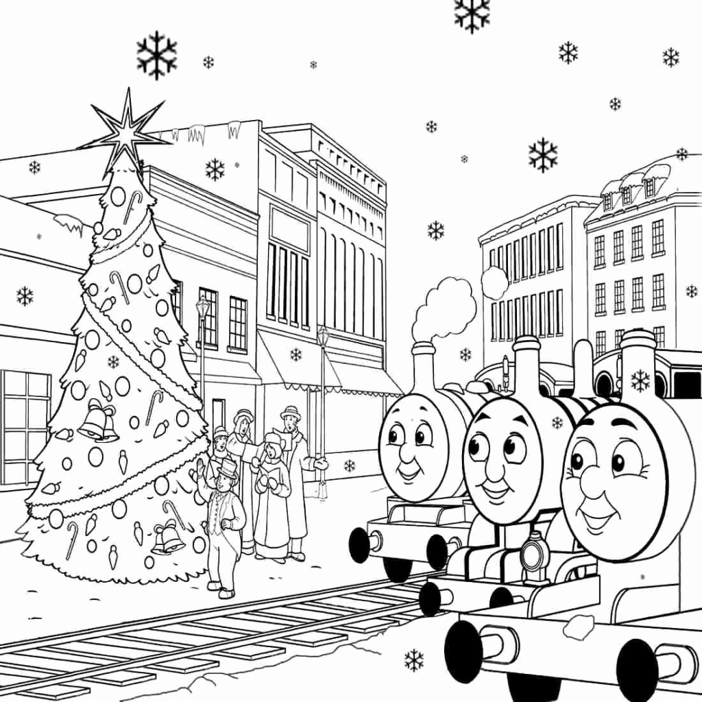 Christmas Coloring Train With Unique Thomas The Colouring Pages Tank