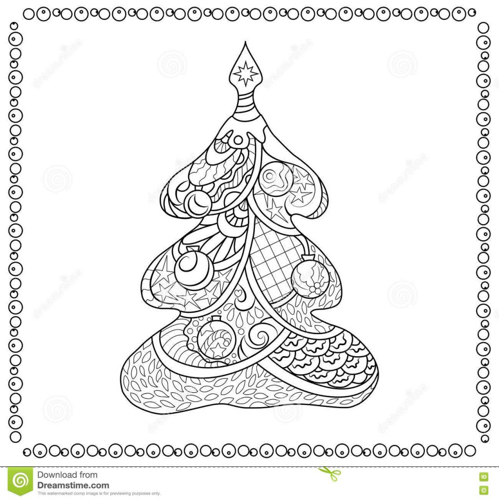 Christmas Coloring Tree With Adult Page Stock Illustration