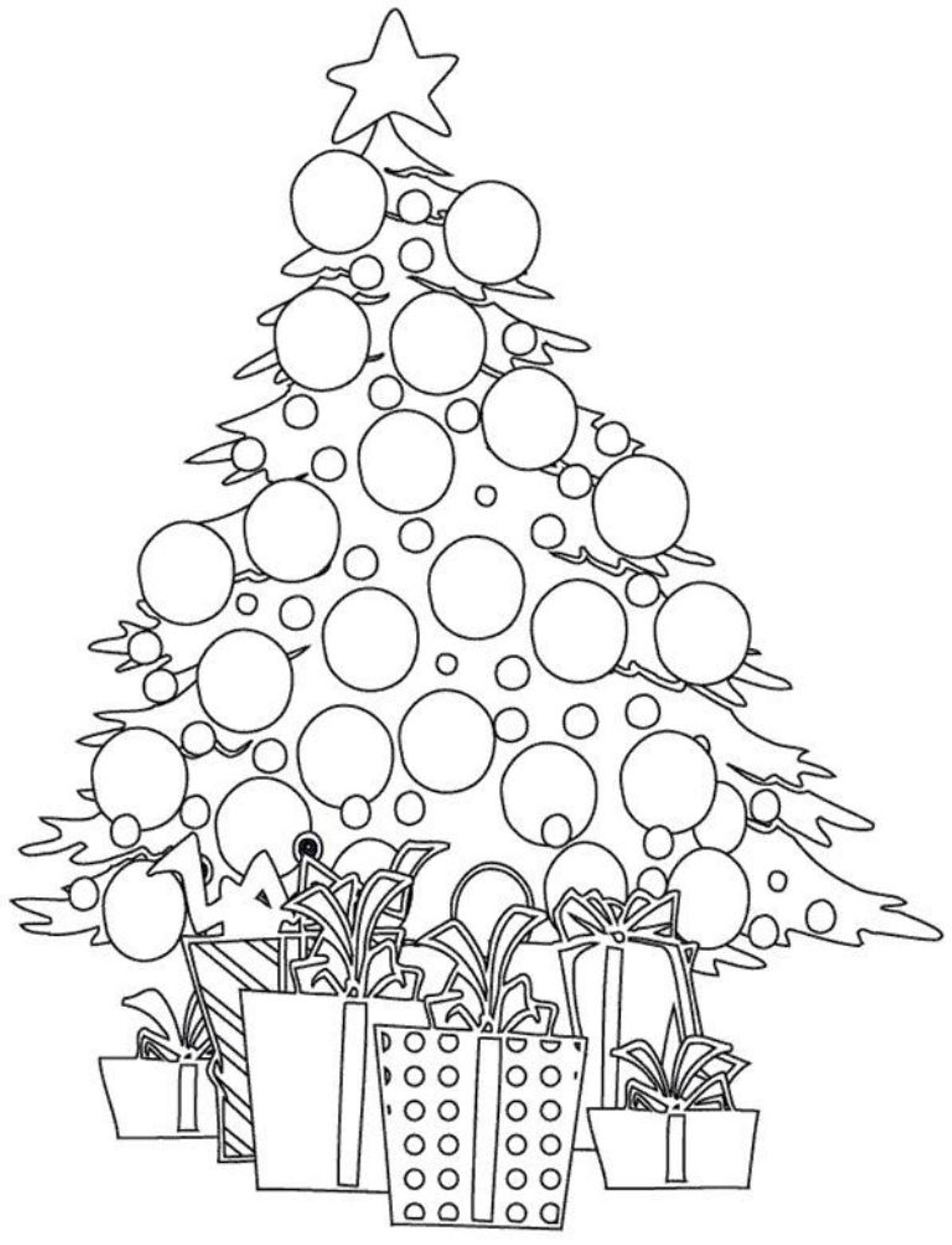 Christmas Coloring Tree With And Presents Pages For Kids