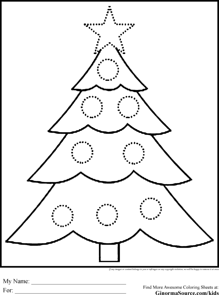 Christmas Coloring Tree With Big Trees Pages Refrence
