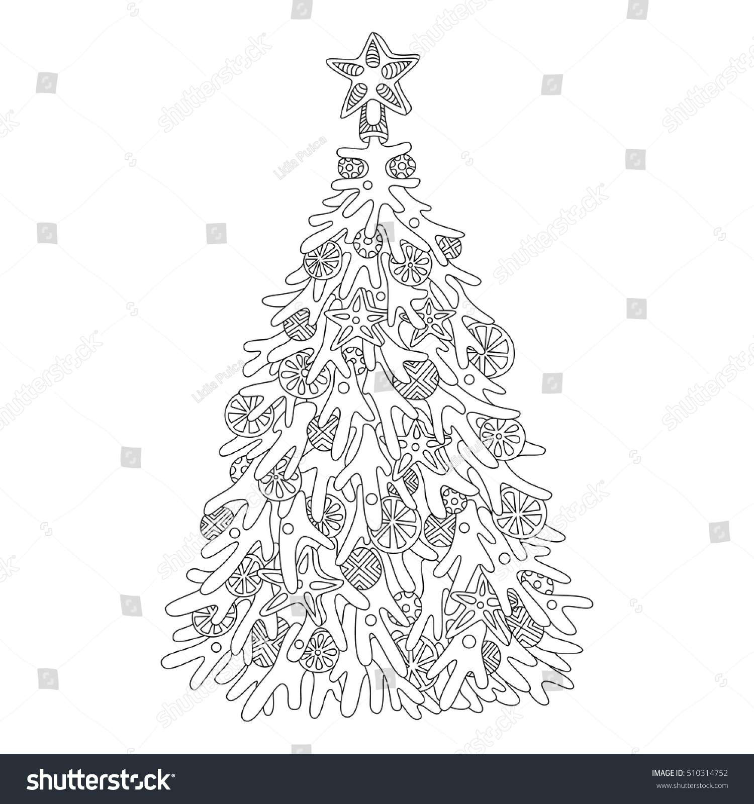 Christmas Coloring Tree With Halloween Lovely Adult Pages