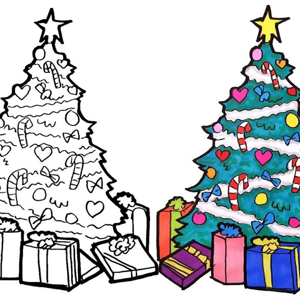 Christmas Coloring Tree With How To Draw A Drawing And