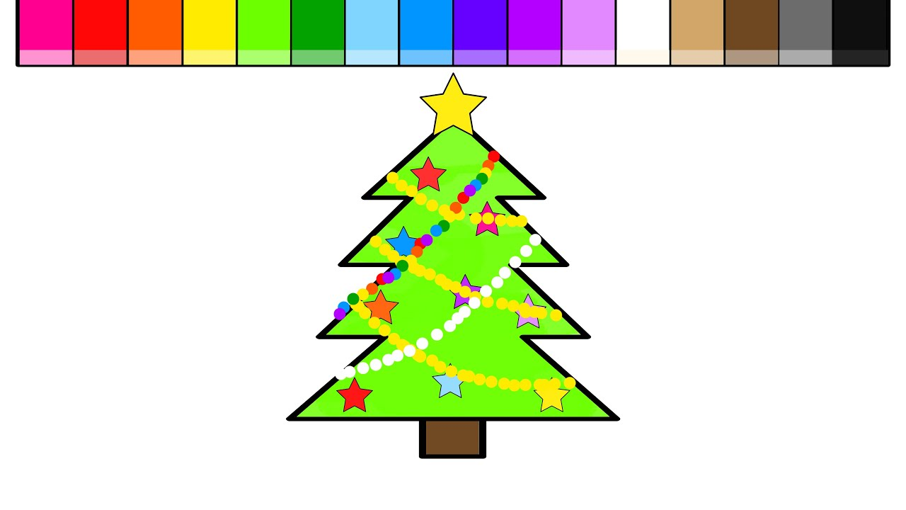 Christmas Coloring Tree With Learn Colors For Kids And Color Pages YouTube