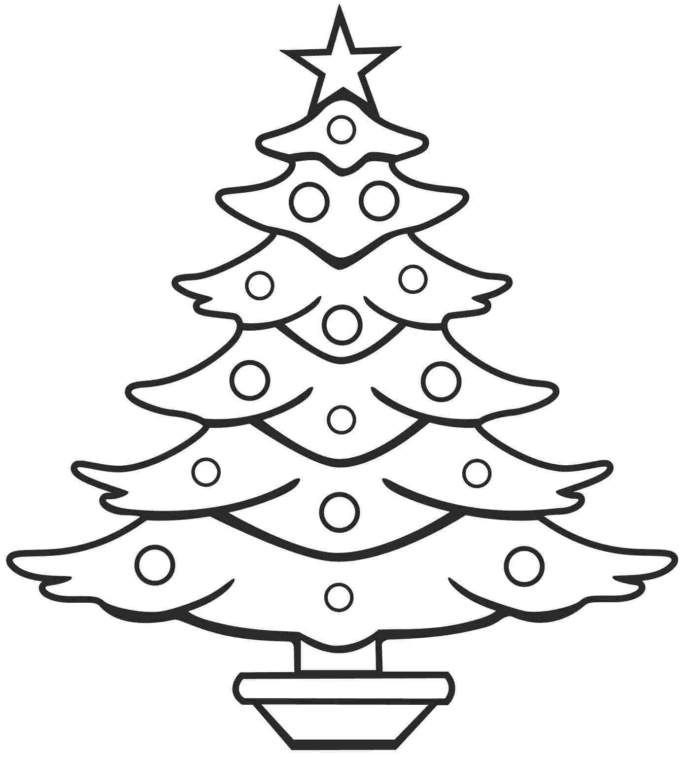 Christmas Coloring Trees With Free Tree Line Drawing Download Clip Art