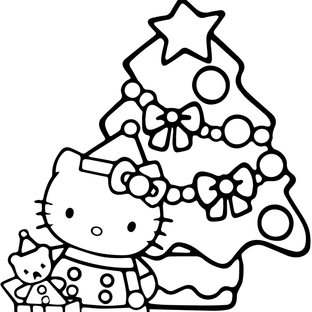 Christmas Coloring Trees With Hello Kitty Page Free Printable Pages