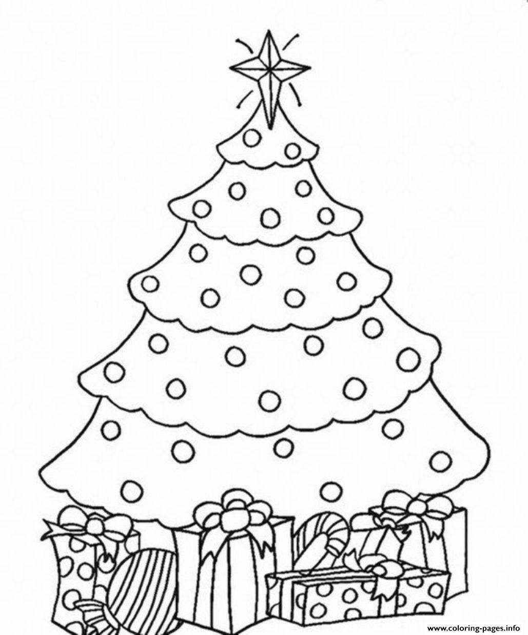 Christmas Coloring Trees With Tree And Present Pages Printable