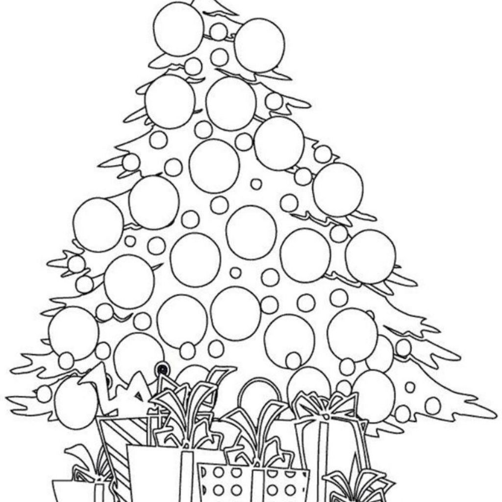 Christmas Coloring Trees With Tree And Presents Pages For Kids