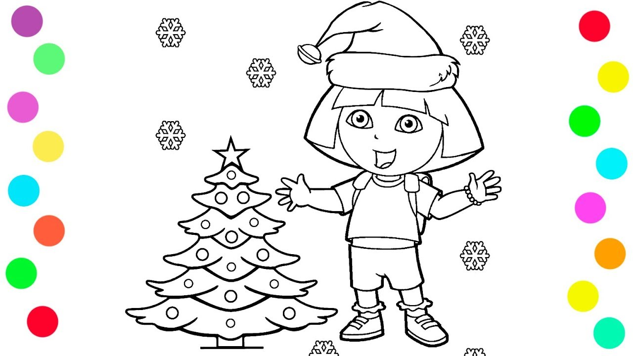 Christmas Coloring Videos With Dora And Tree Pages For Kids Children