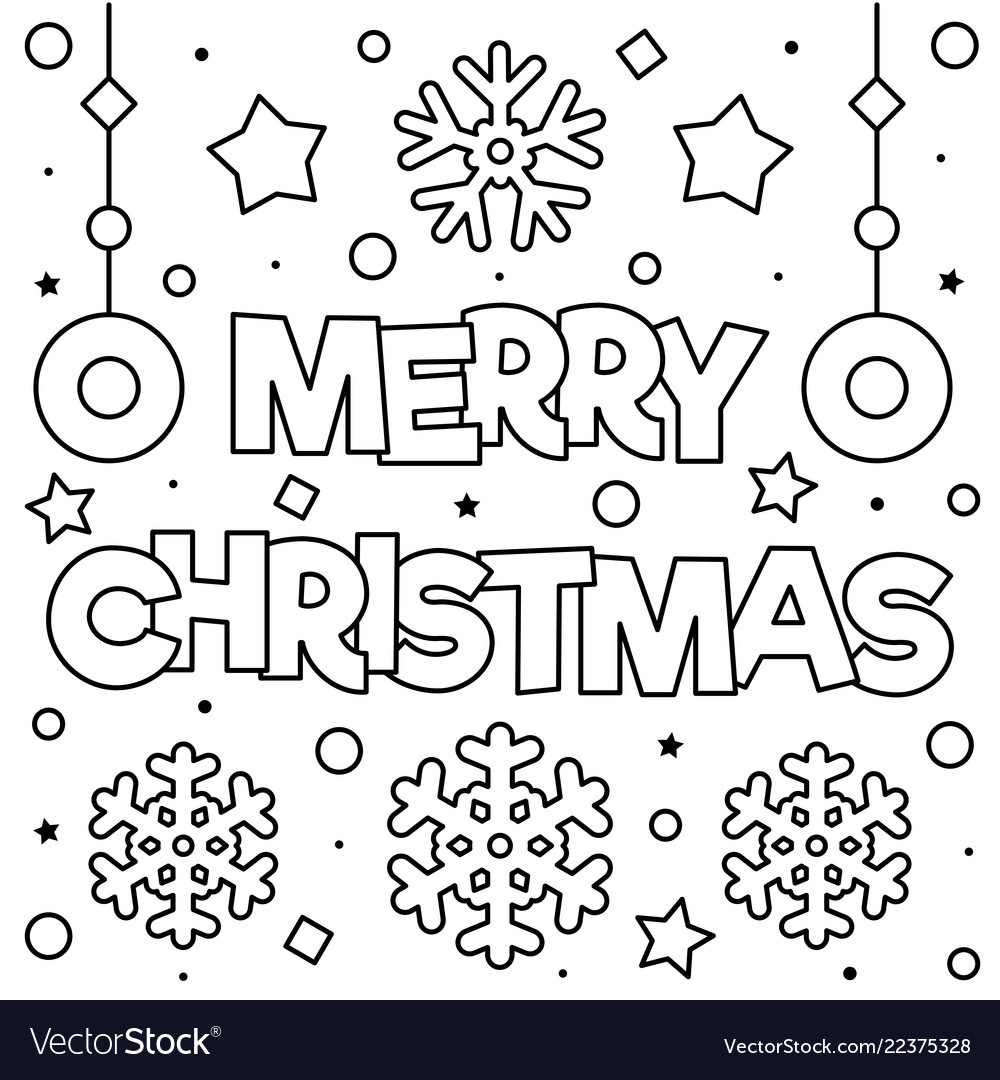 Christmas Coloring With Merry Page Black And White Vector Image