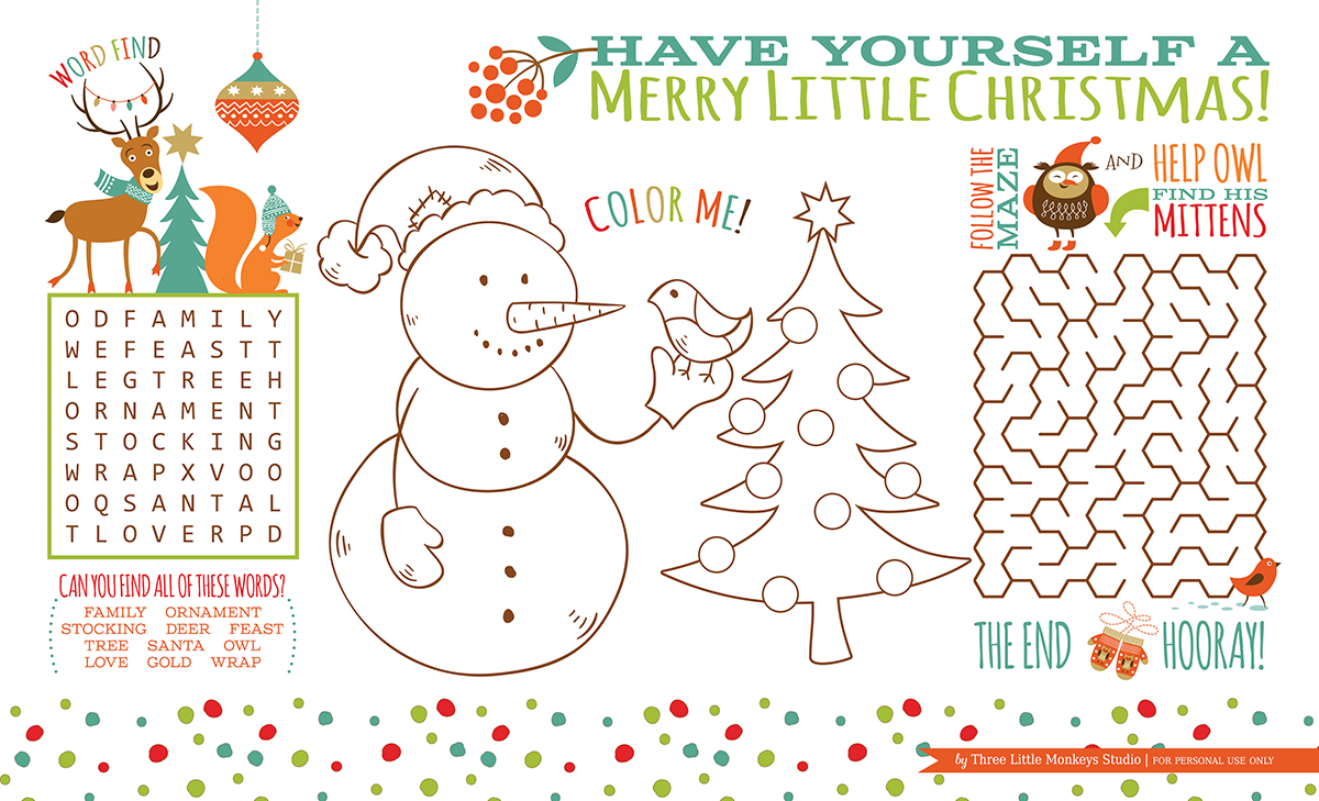 Christmas Coloring Word Search With Activity Placemat Free Printable Three Little Monkeys