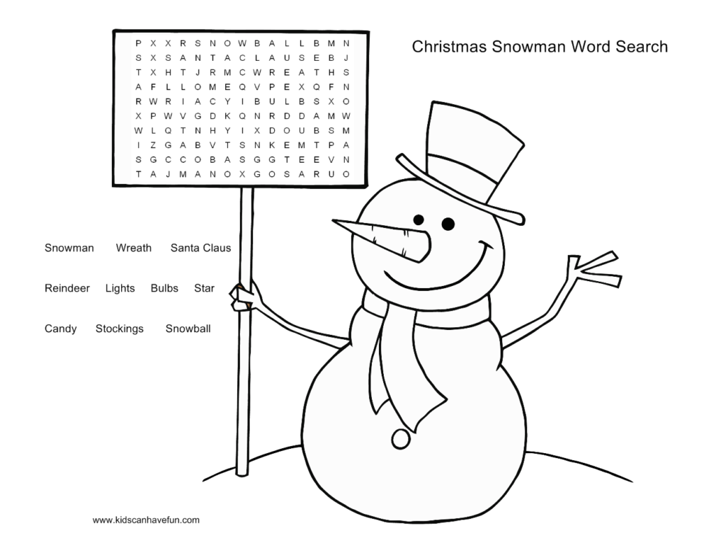 Christmas Coloring Word Search With Snowman Puzzle For The Kids Http Www Kidscanhavefun