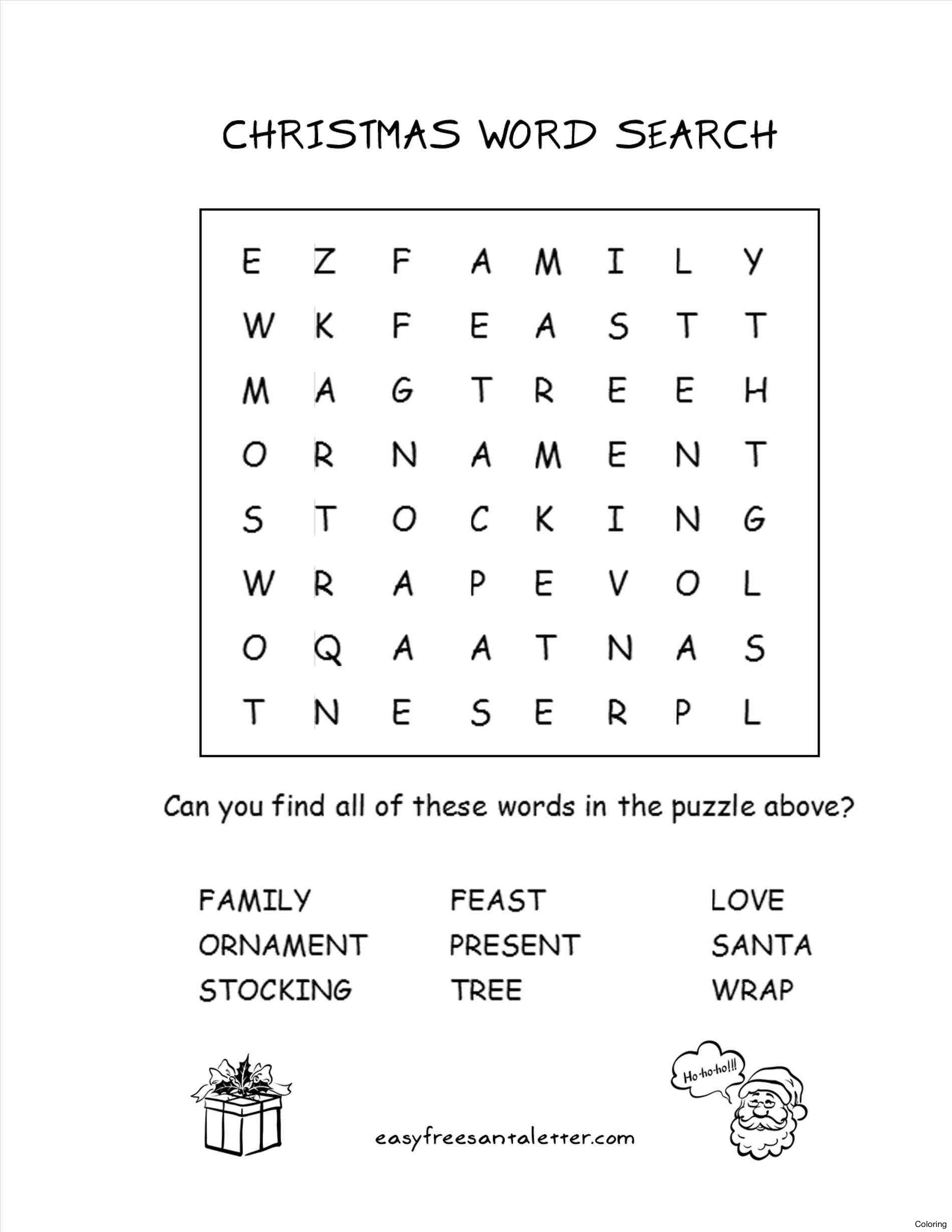 Christmas Coloring Word Search With Words Puzzles Hard Printable Searches For