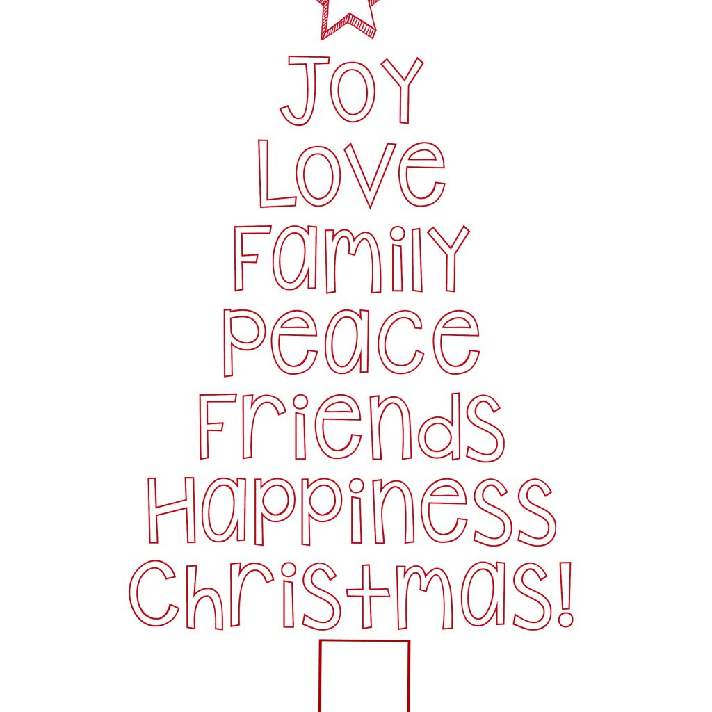 Christmas Coloring Words With Christian Tree Pages Inspirationa