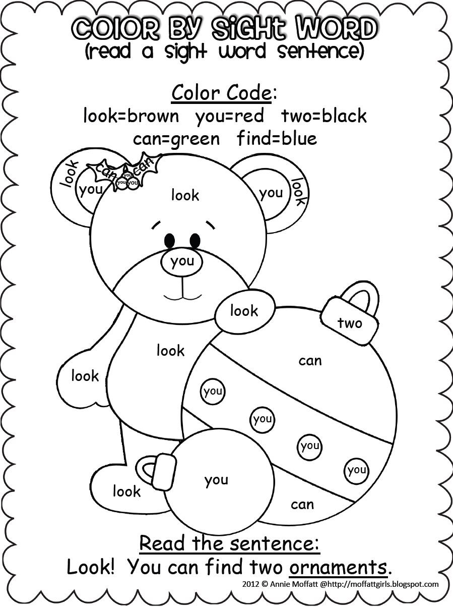 Christmas Coloring Words With Color By Sight Word Sentences Pre Primer KinderLand
