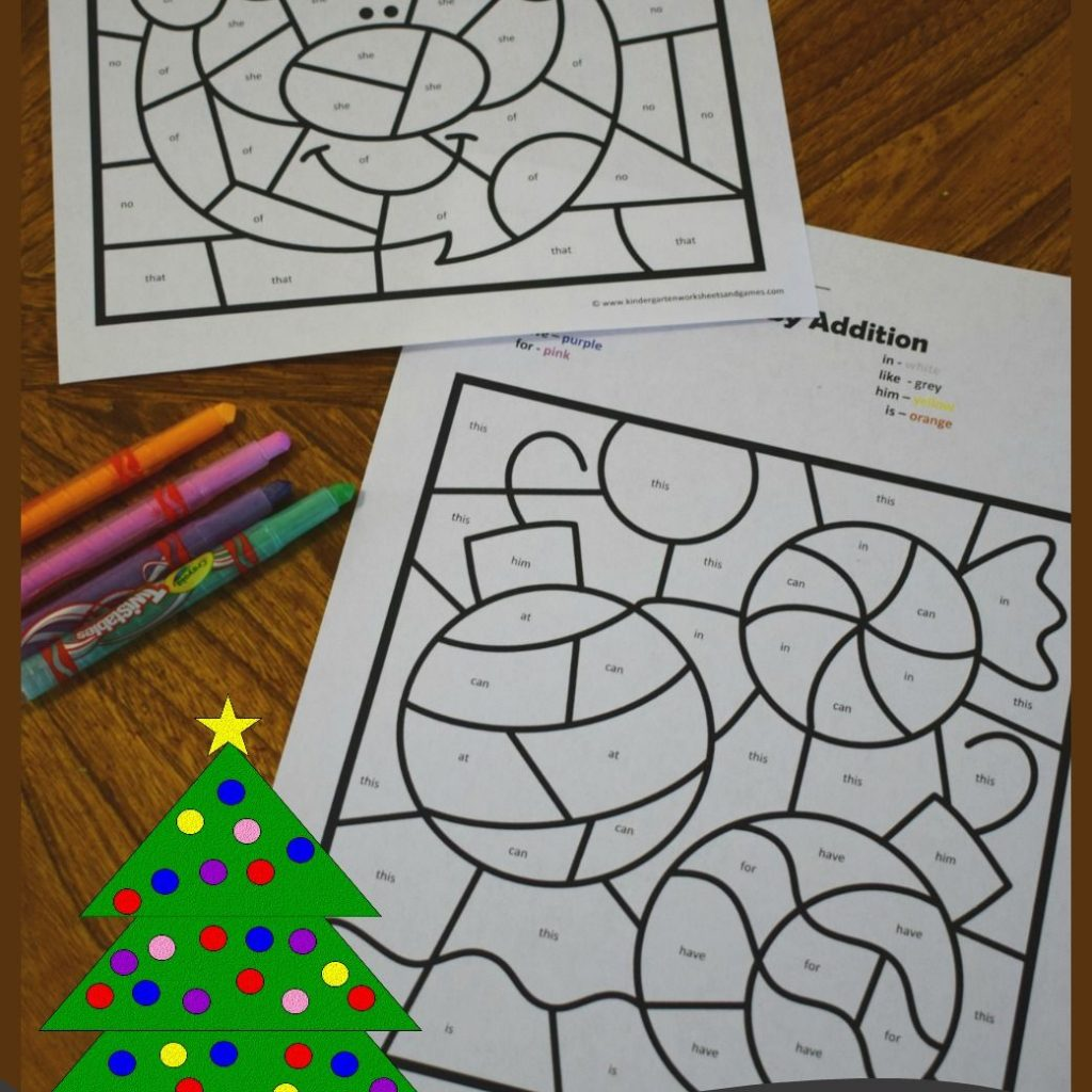 Christmas Coloring Words With FREE Color By Kindergarten Sight Is Such A Fun Way