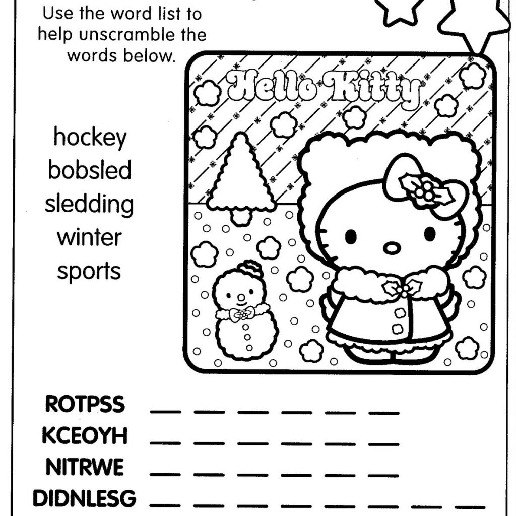 Christmas Coloring Words With Hello Kitty Pages Bf Dda Af
