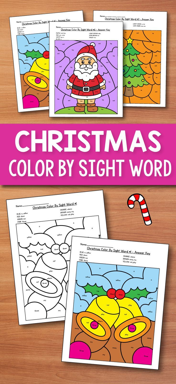 Christmas Coloring Words With Morning Work December Color By Sight Pre Primer