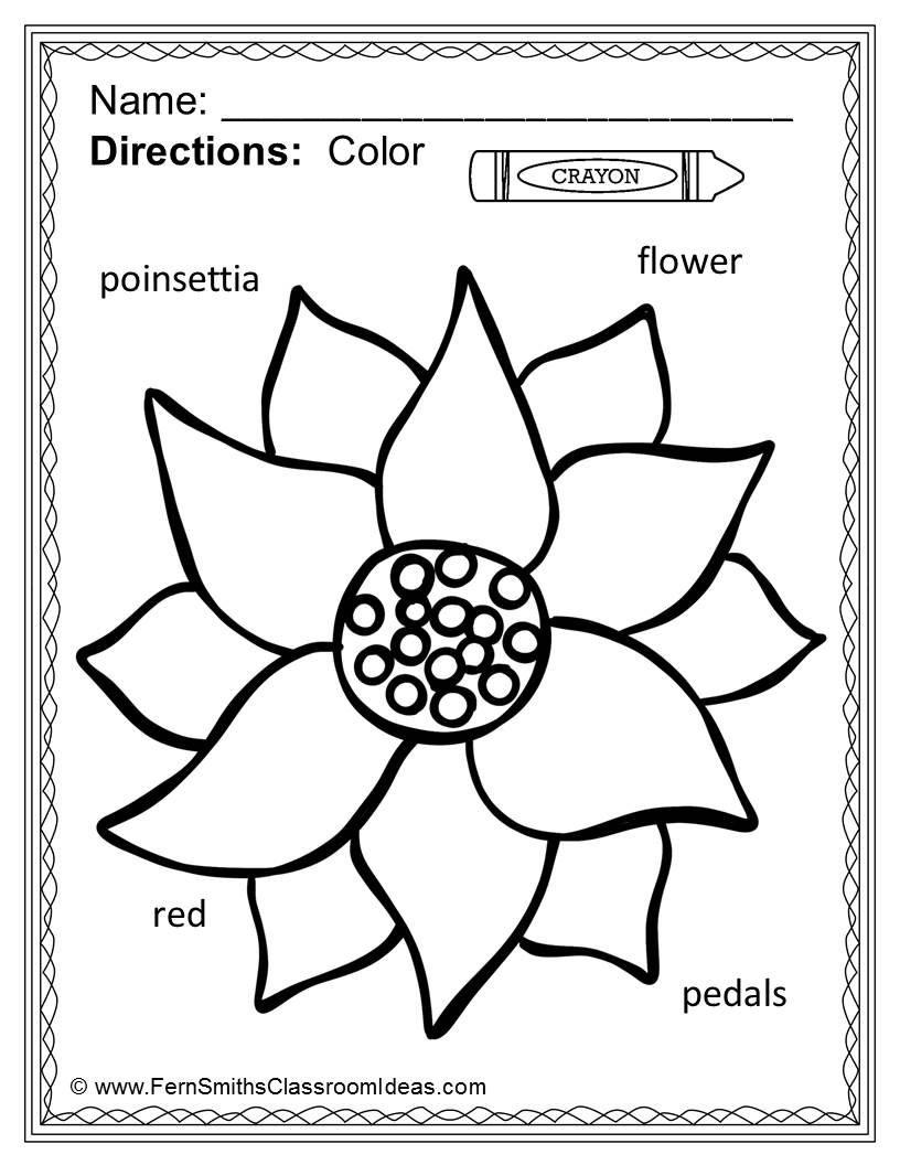 Christmas Coloring Words With Page Differentiated Seasonal Vocabulary