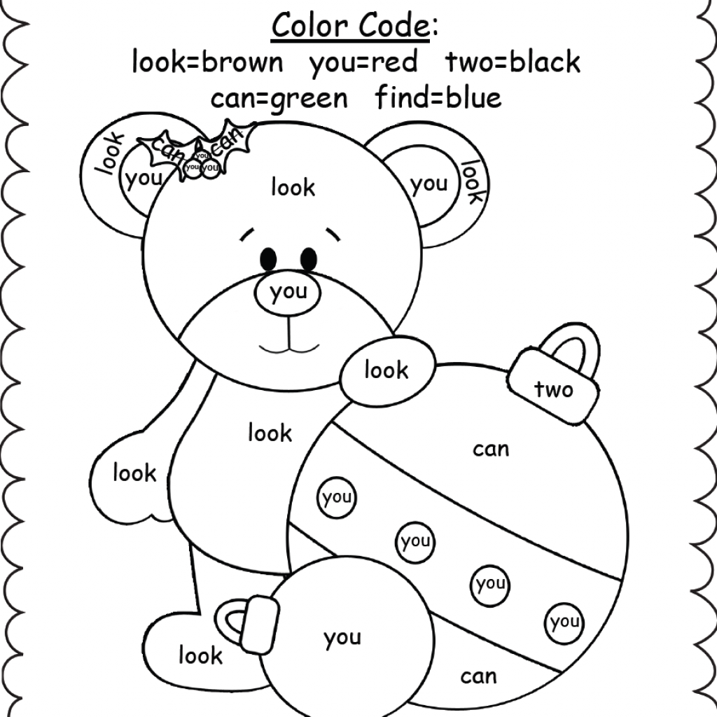 Christmas Coloring Worksheets Kindergarten With Sight Word Pages 13 22058 And Napisy Me