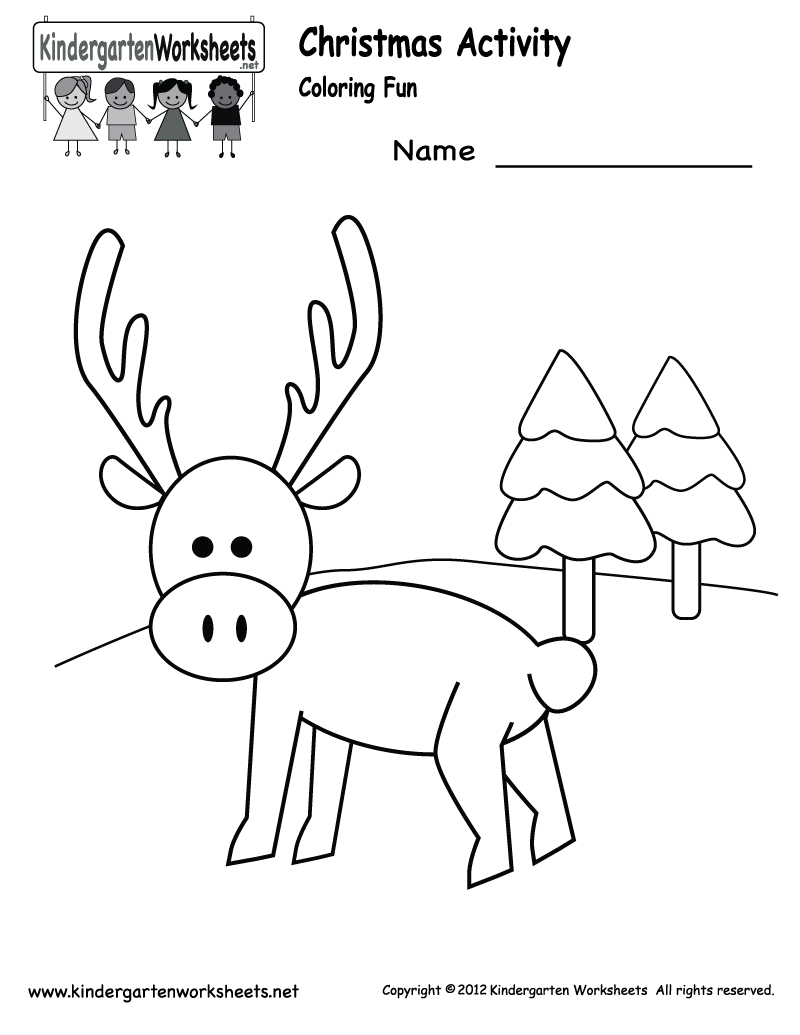 Christmas Coloring Worksheets Kindergarten With Worksheet Printable