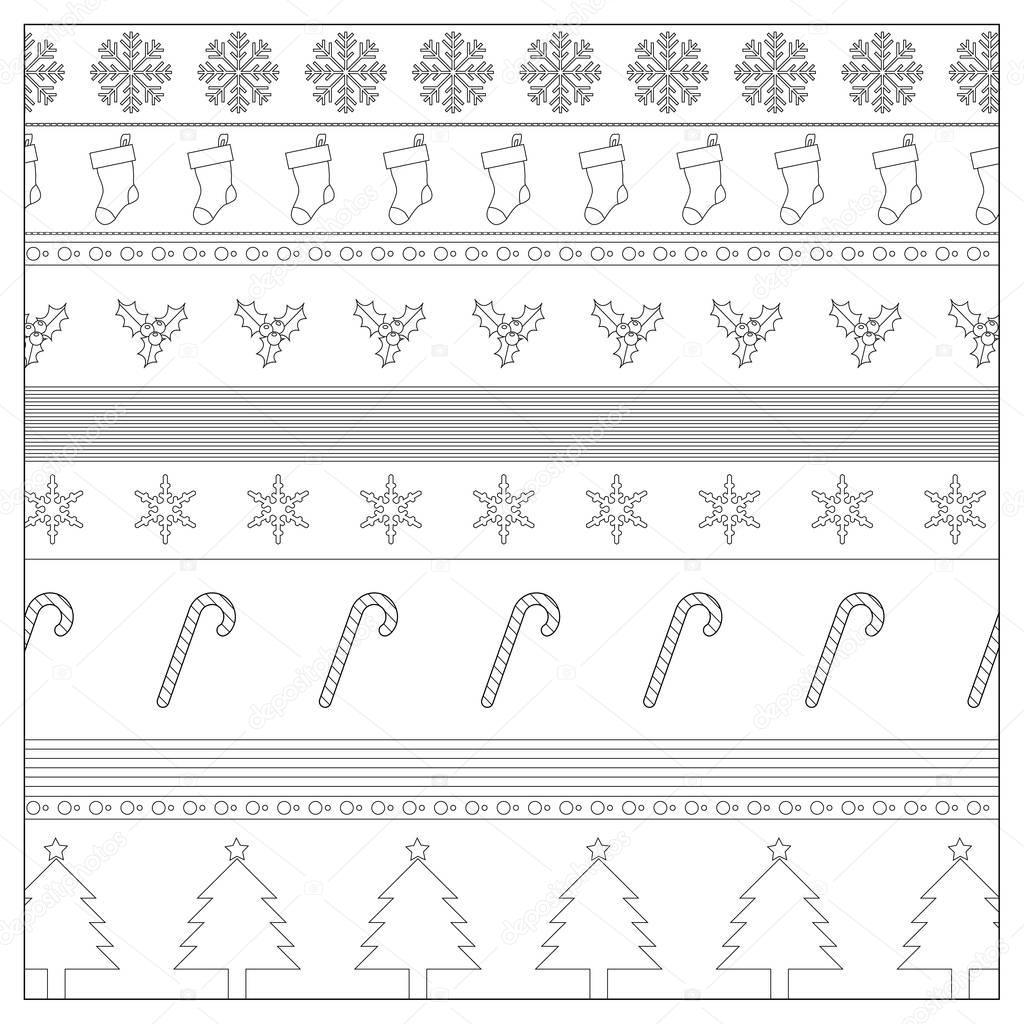 Christmas Coloring Wrapping Paper With Background Page Stock Photo