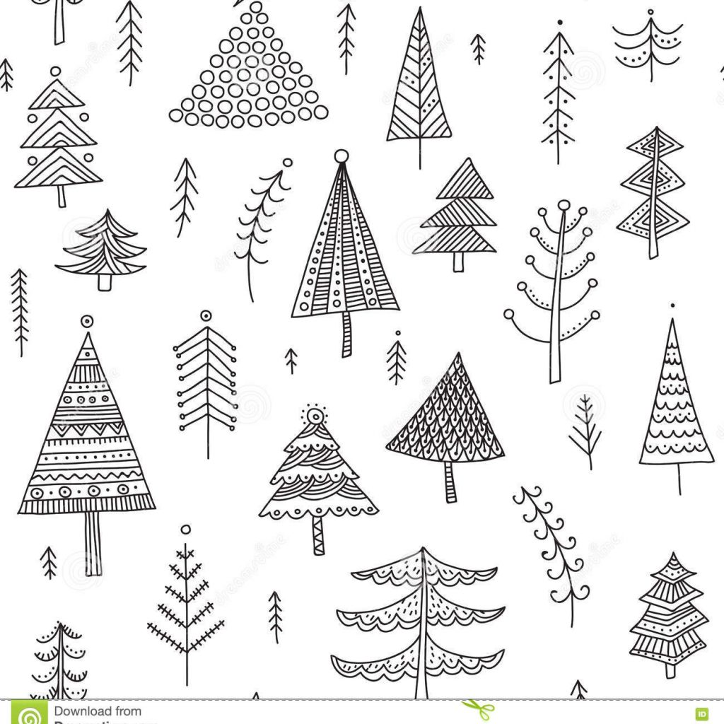 Christmas Coloring Wrapping Paper With Decorated Trees Seamless Pattern Stock Vector