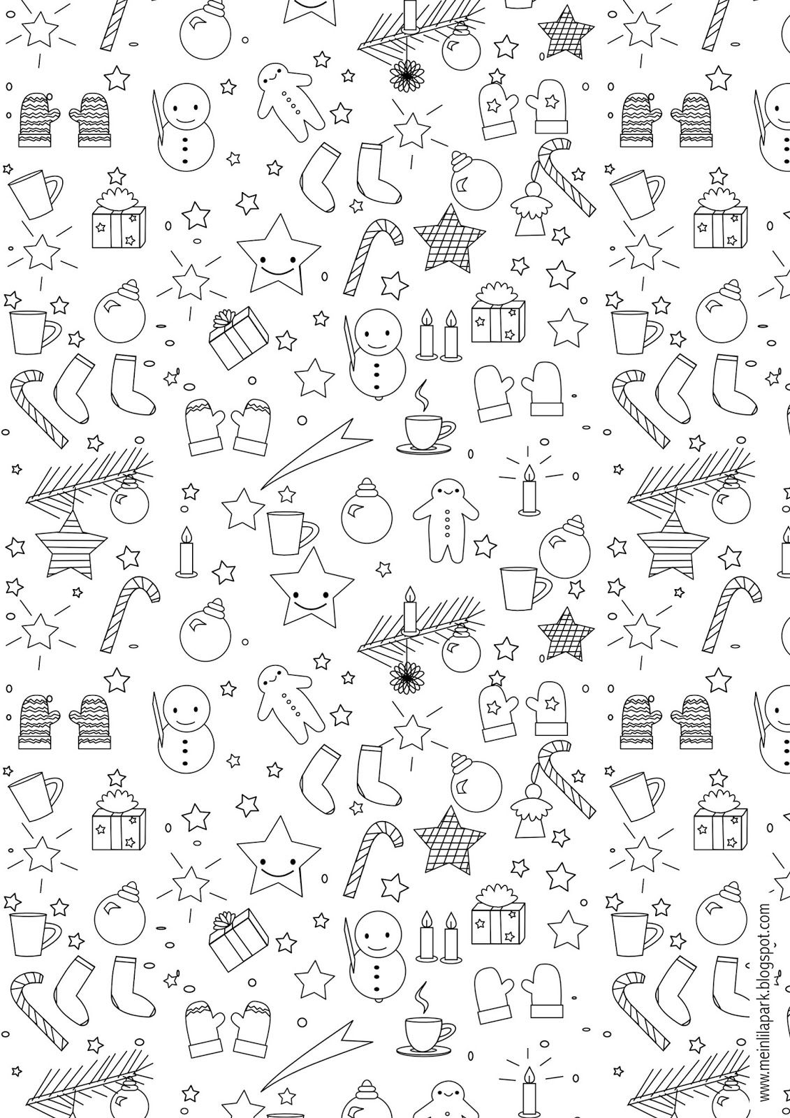 Christmas Coloring Wrapping Paper With Free Printable Page Ausdruckbares Malblatt