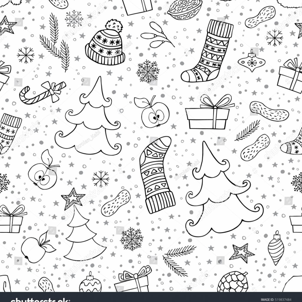 Christmas Coloring Wrapping Paper With Holiday Seamless Background Symbol Can Stock Vector
