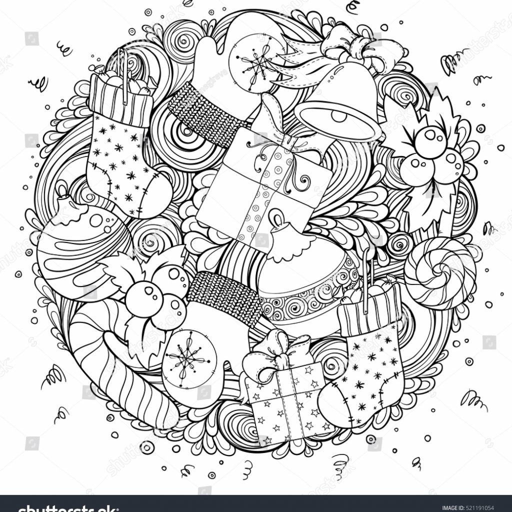Christmas Coloring Wrapping Paper With Merry Set Xmas Monochrome Pattern Stock Vector Royalty