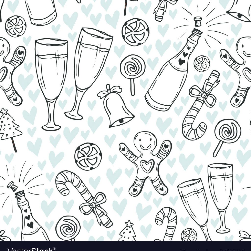 Christmas Coloring Wrapping Paper With New Year Pattern Cute Vector Image
