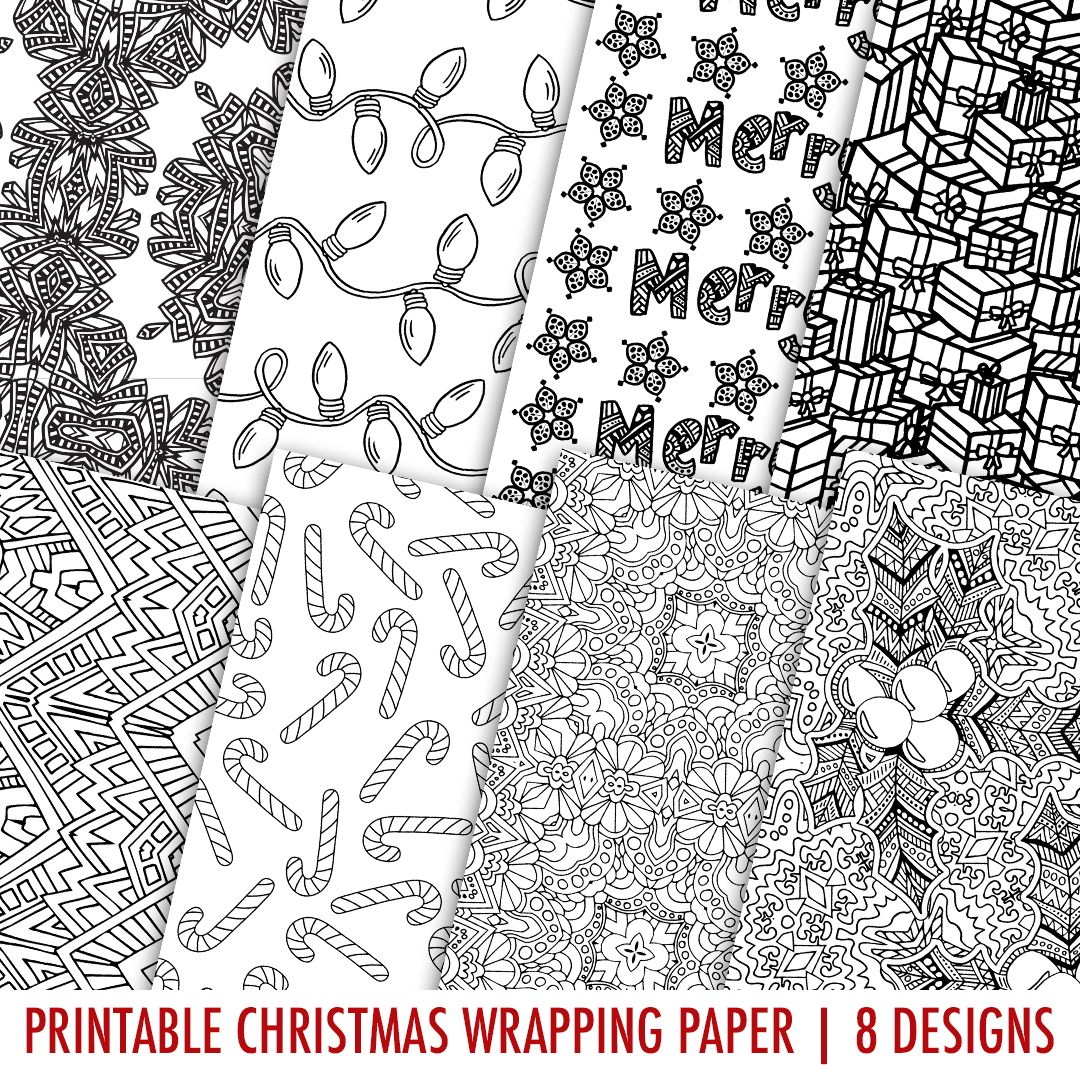 Christmas Coloring Wrapping Paper With Printable