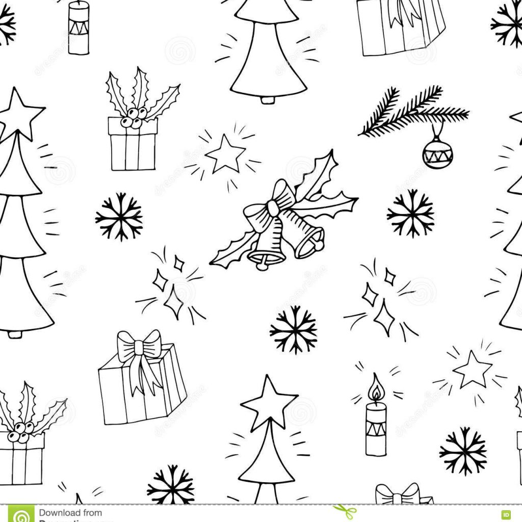 Christmas Coloring Wrapping Paper With Seamless Pattern Big Gift And Bell Tree Stock Vector