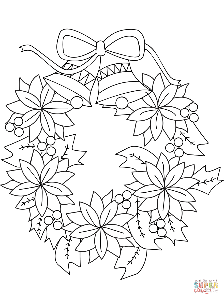 Christmas Coloring Wreath With Page Free Printable Pages