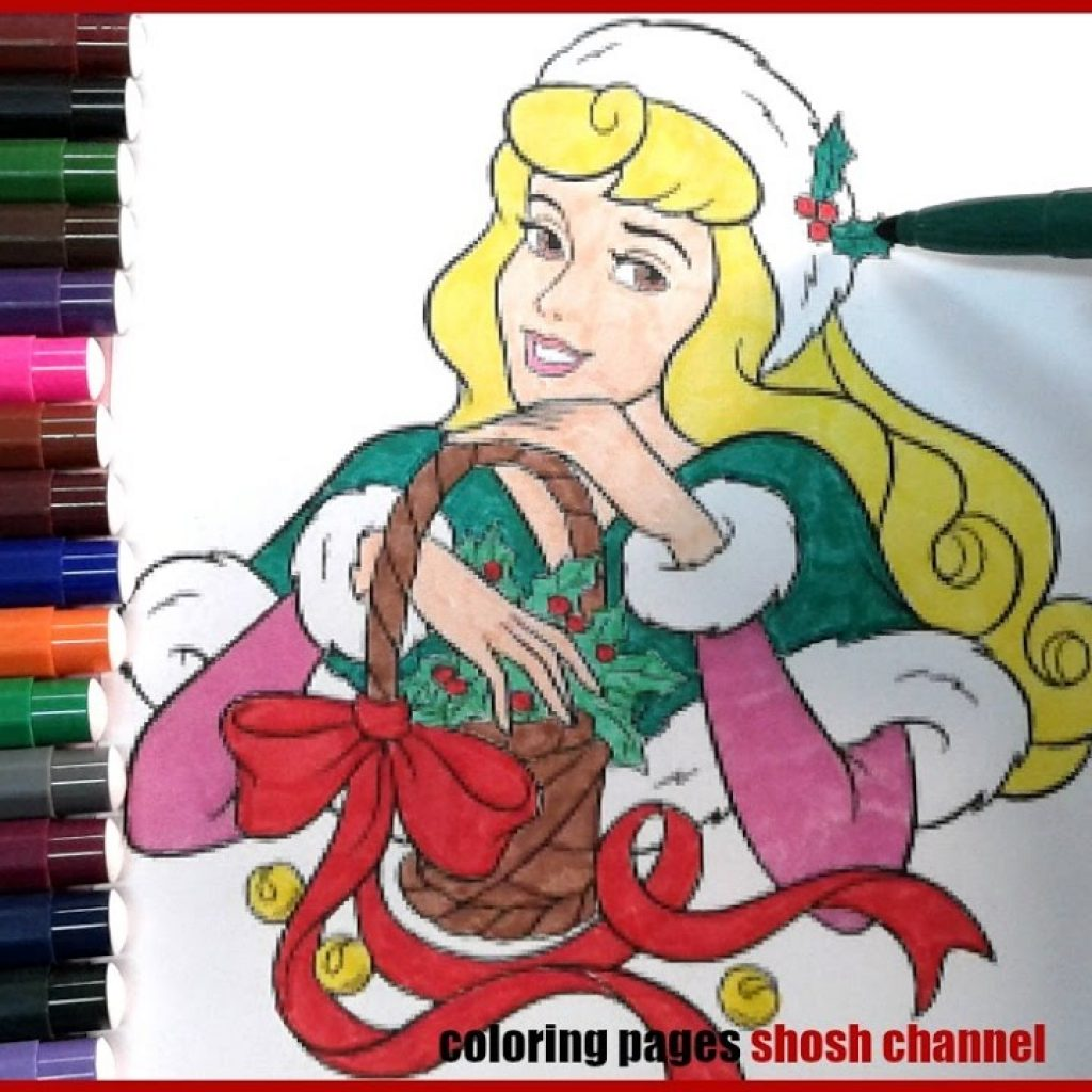 Christmas Coloring Youtube With Disney Princess Aurora Pages Xmas From