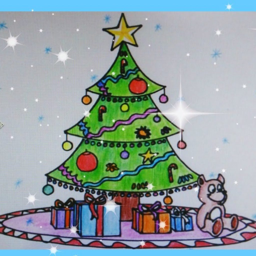 Christmas Coloring Youtube With Kids Greeting Cards Merry Tree Card For
