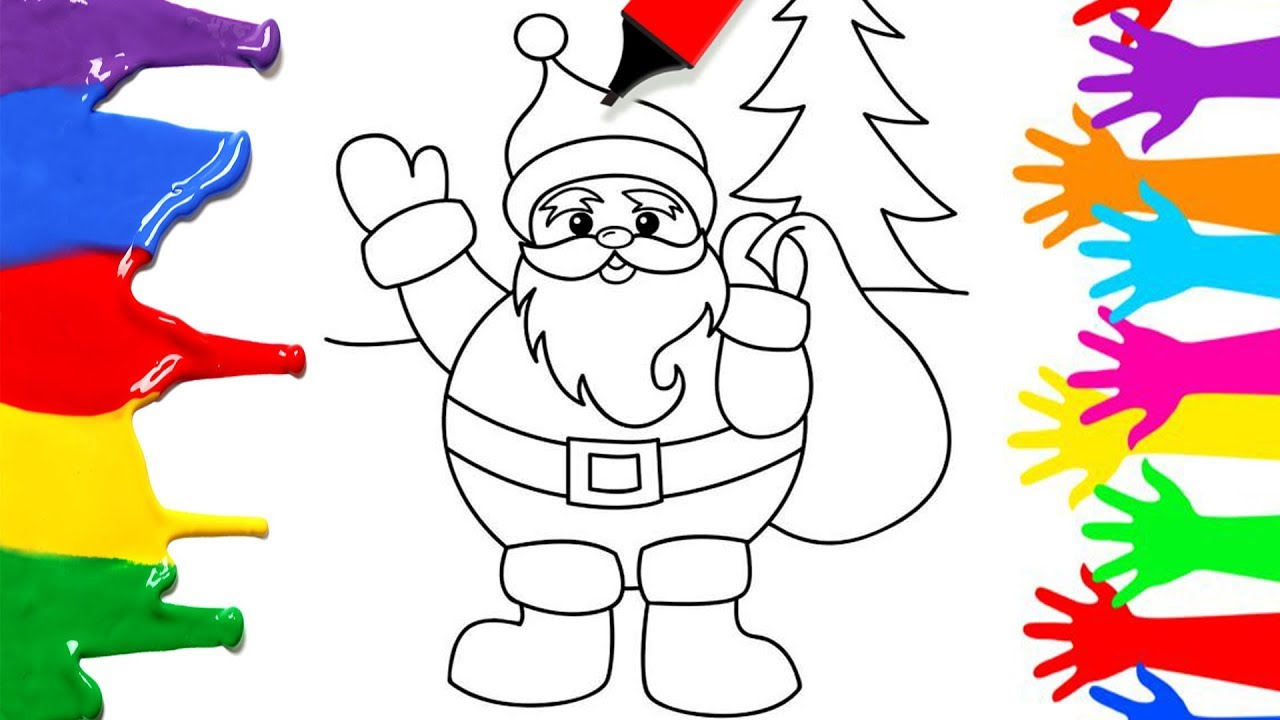 Christmas Coloring Youtube With Simple Pages For Kids How To Draw Santa Clause
