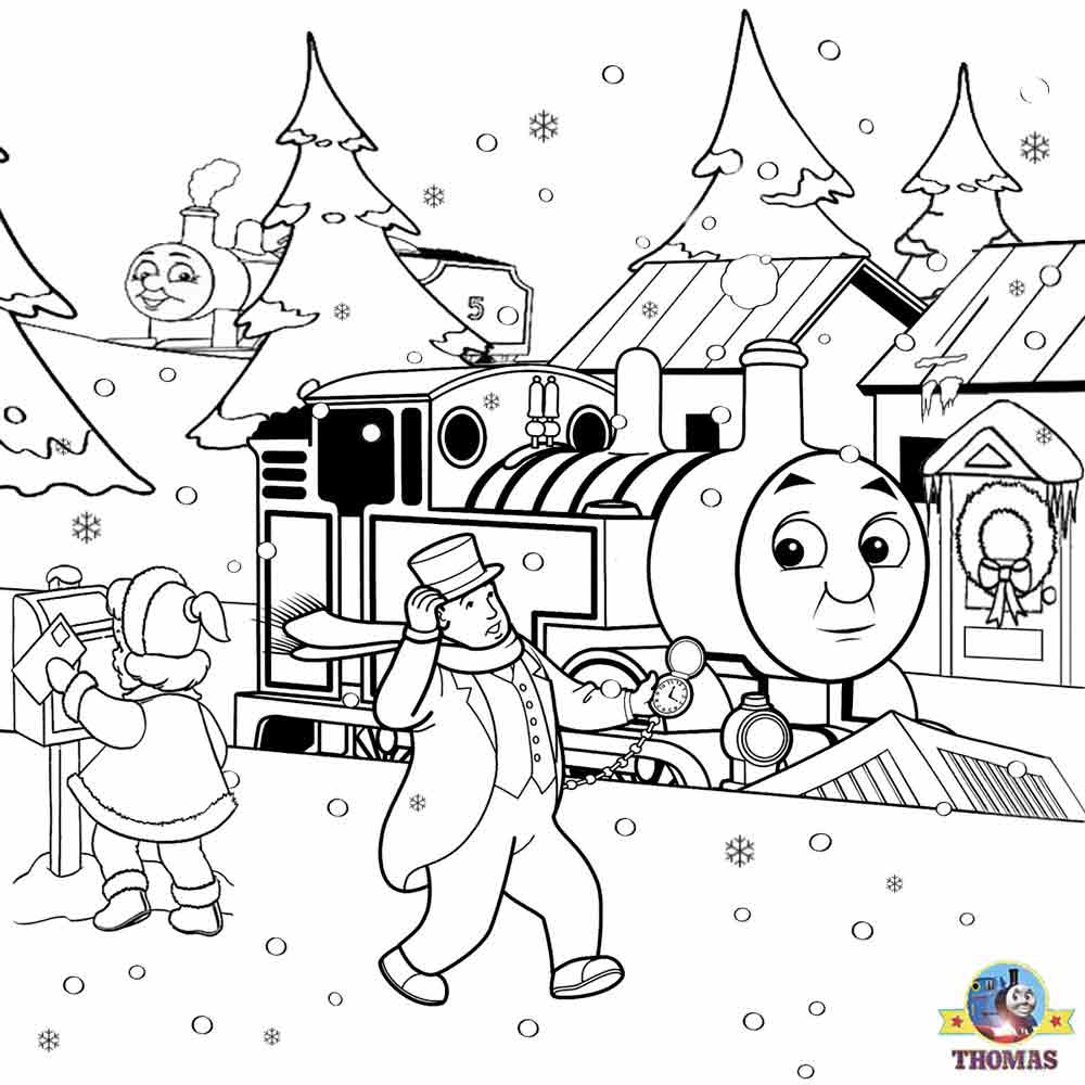 Christmas Colouring Pages And Activities With FREE Coloring For Kids Printable Thomas Snow