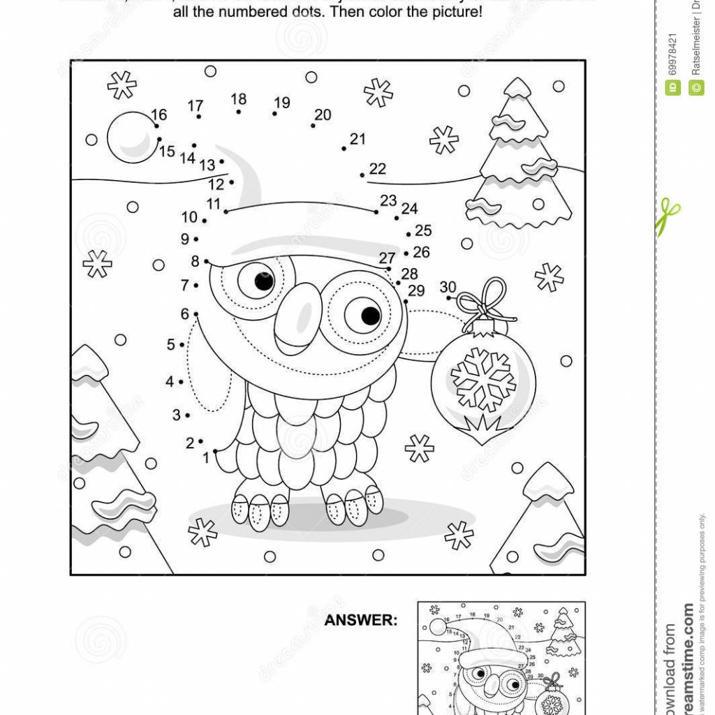 Christmas Colouring Pages And Puzzles With Dot To Coloring Page Owl Stock Vector